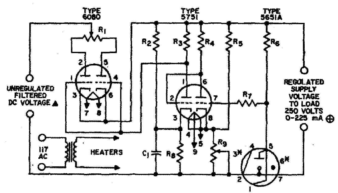 Regulated Power Supply For Vacuum Tube Valve Electronics Projects Adjustable Dc Circuit Diagram Figure 1 Schematic Of The High Voltage Regulator As Published In Rca Receiving Manual Rc 30
