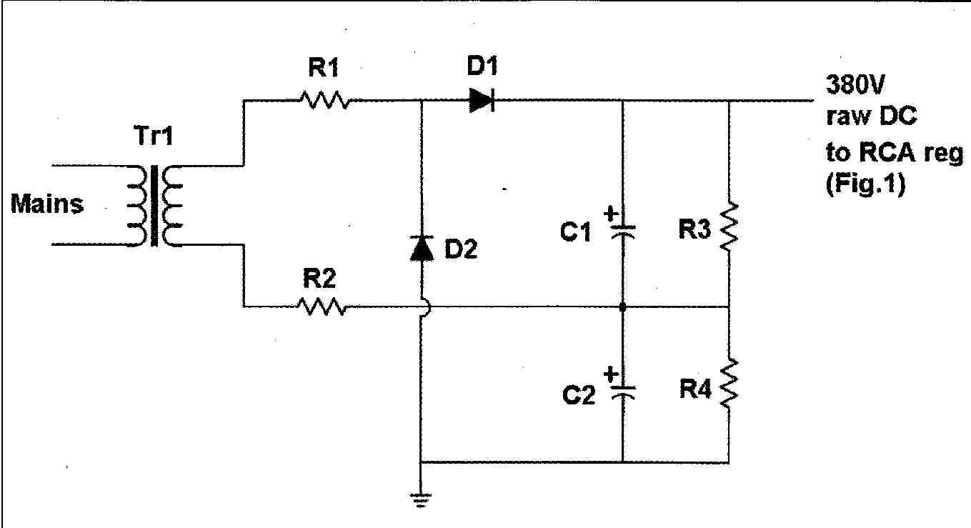 Regulated Power Supply For Vacuum Tube Valve Electronics Projects Adjustable Symmetric Schematic Diagram Figure 2 Voltage Doubler Generating Raw Dc The Rca Regulator Shown In Fig 1 Heater