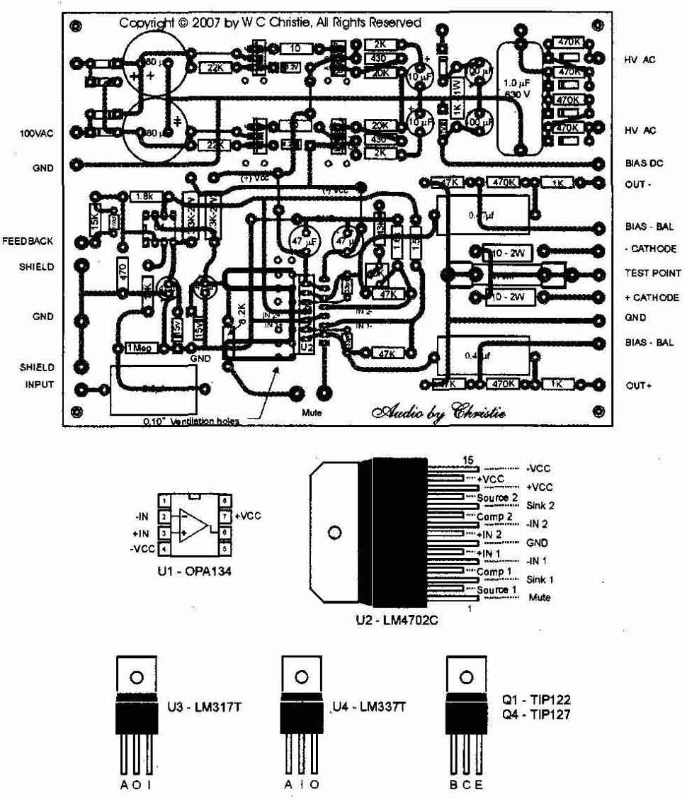 A Hybrid Tube Solid State High Fidelity Power Amplifier Headphone Based Opa134pa Above Fig 4 Pc Board With Component Layout