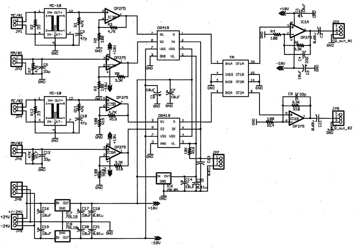 ic preamp with electronic level and selector